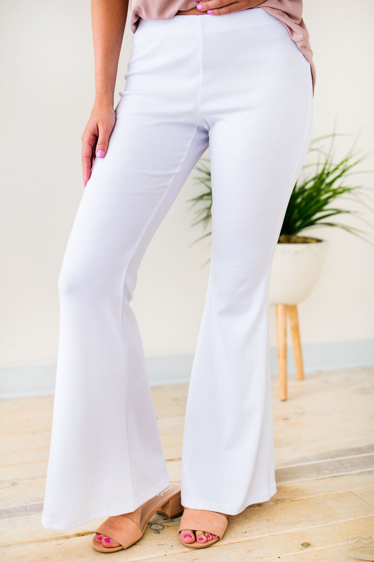 Stretchy White Flare Pants