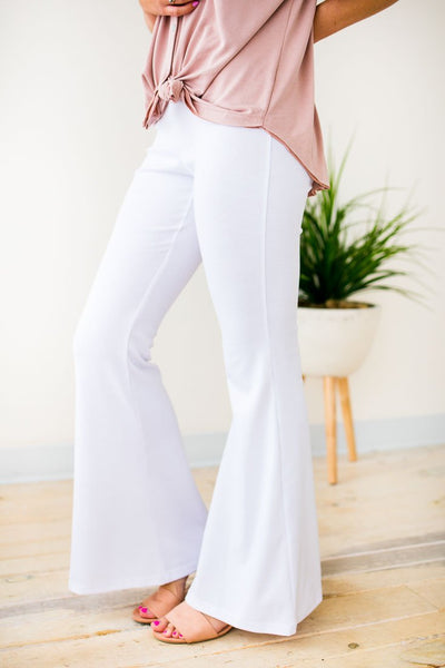 Flare White Stretchy Pants