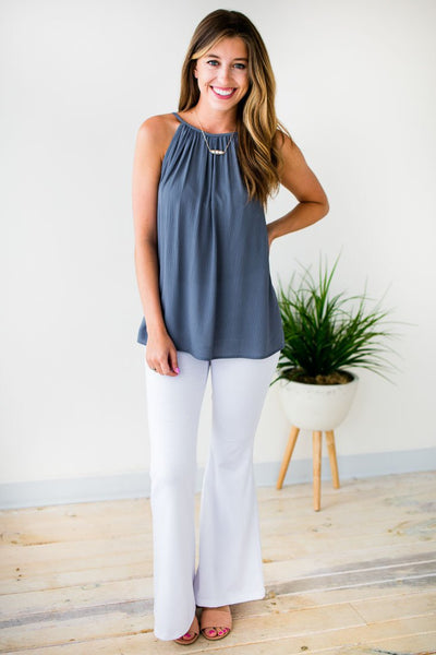 Tops The Way She Moves Flowy Blue Tank - Lotus Boutique