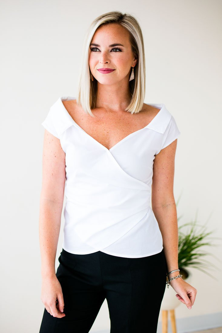 09824501b9b1a Tops Dear to Me Off Shoulder Wrap Top in White - Lotus Boutique