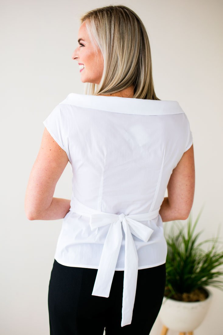 Tops Dear to Me Off Shoulder Wrap Top in White - Lotus Boutique
