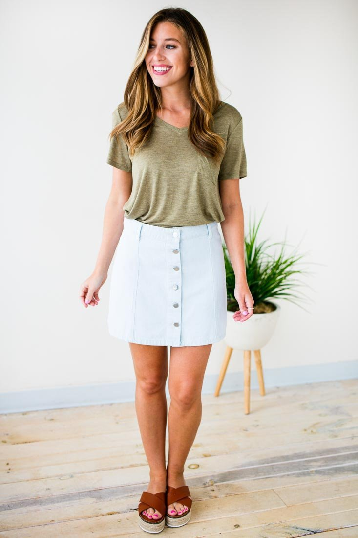 Button Front White Denim Mini Skirt