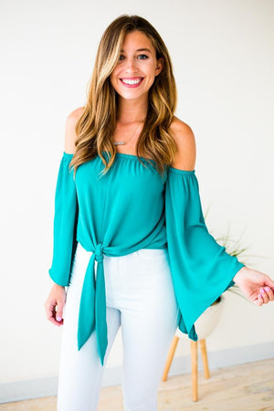 Off Shoulder Turquoise Top