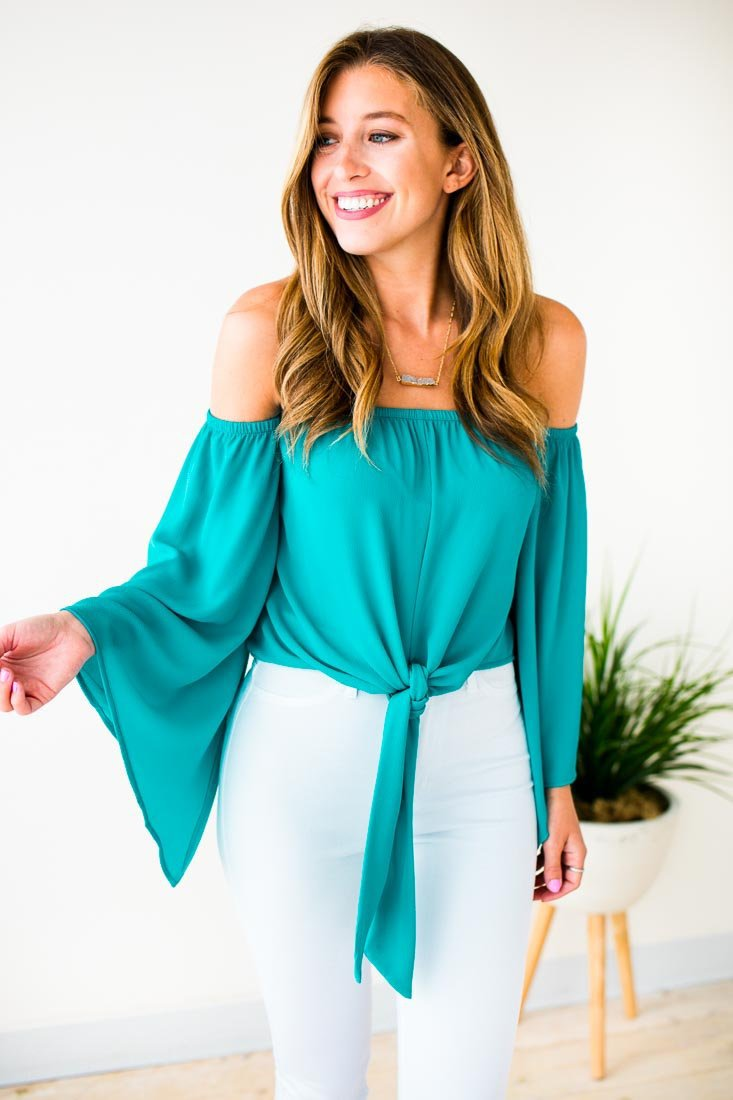 Tops Forever Young OTS Tie Top in Turquoise - Lotus Boutique