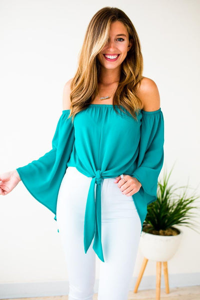 Turquoise Tie Front Top