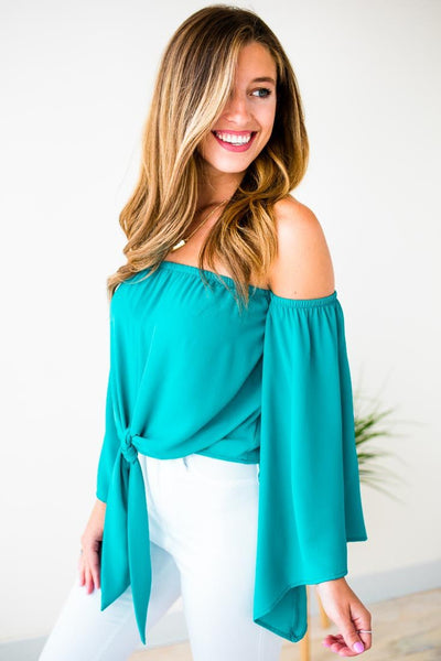 Turquoise Tie Front Bell Sleeve Top