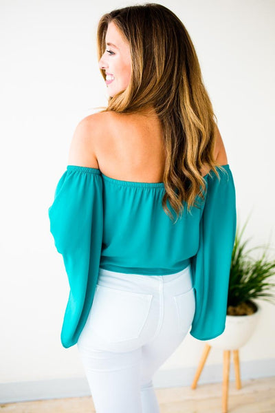 Tie Front Turquoise Off Shoulder Top