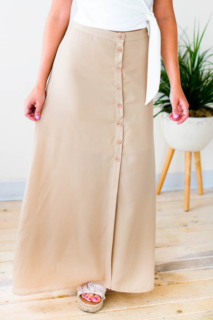 Bottoms Comes and Goes Button Maxi Skirt - Lotus Boutique