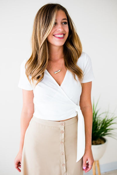 Wrap Style Ivory Crop Top
