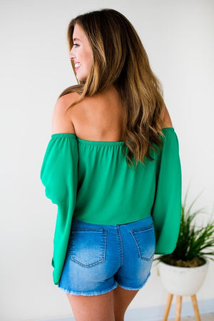 Off Shoulder Emerald Top