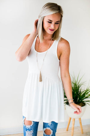 White Baby Doll Style Tank