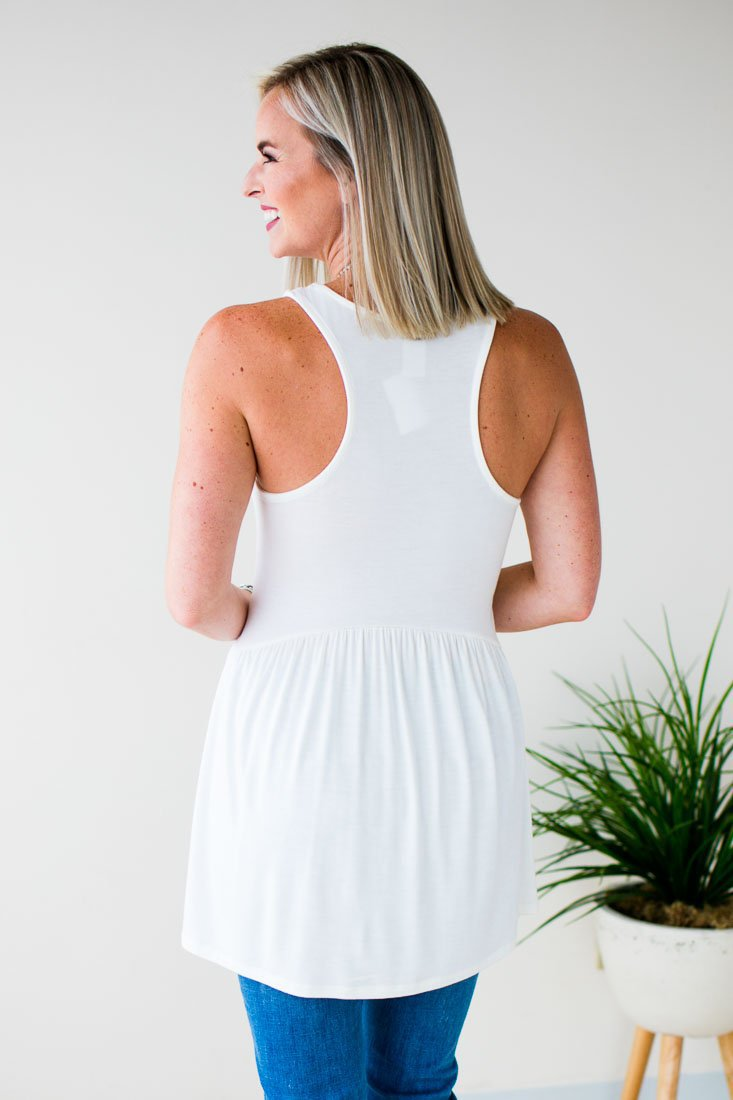 Tops Stay in the Shade Racer Back Tank in Ivory - Lotus Boutique
