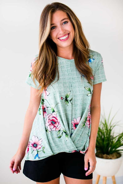 Tops Promise Me Some Floral Surplice Style Top - Lotus Boutique