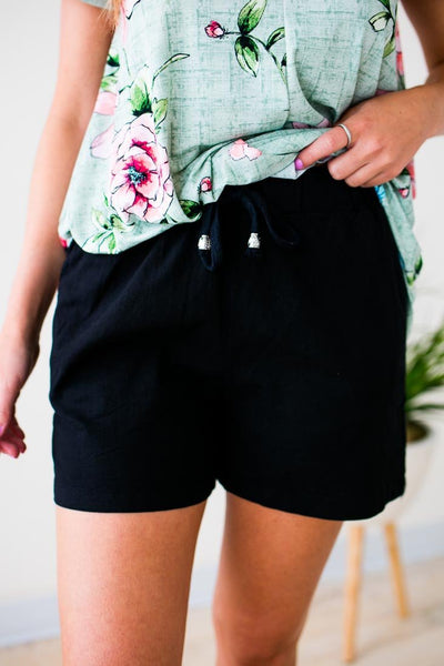Bottoms Catching Fireflies Long Linen Shorts in Black - Lotus Boutique