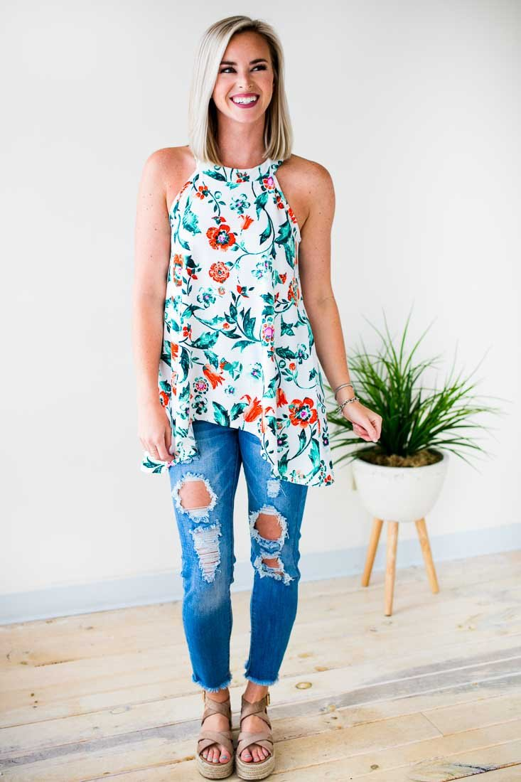 Floral High Neck Tank