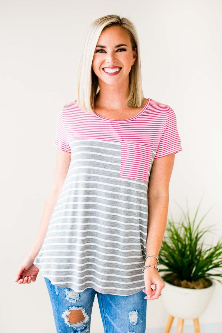Tops Casual Intentions Stripe Pocket Tee - Lotus Boutique