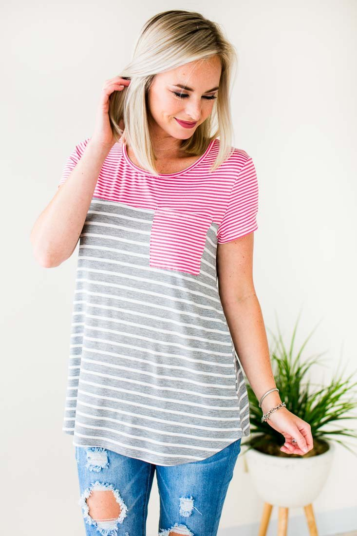 Casual Stripe Pocket Tee