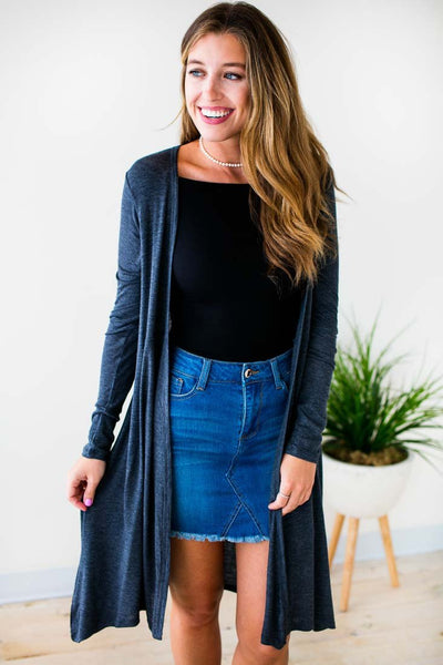 Tops Miss Punctuality Lightweight Grey Kimono - Lotus Boutique