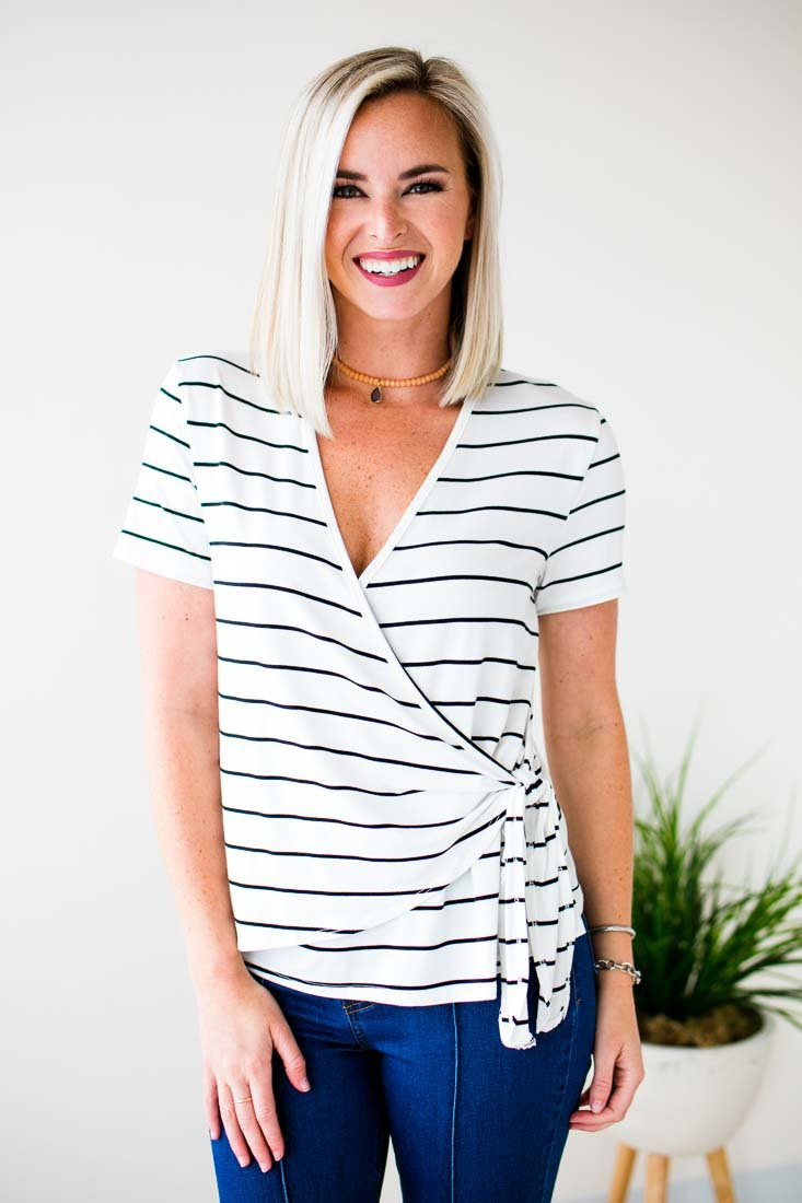 Black Stripe Wrap Top