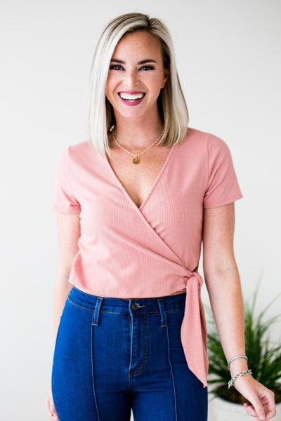Ribbed Rose Crop Top
