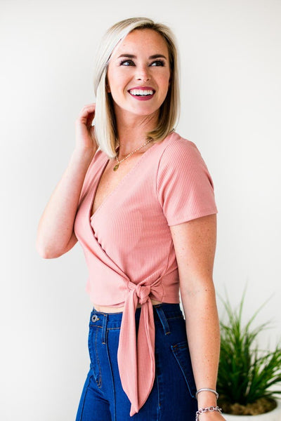 Wrap Crop Rose Top