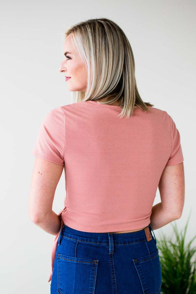 Wrap Crop Top- Rose