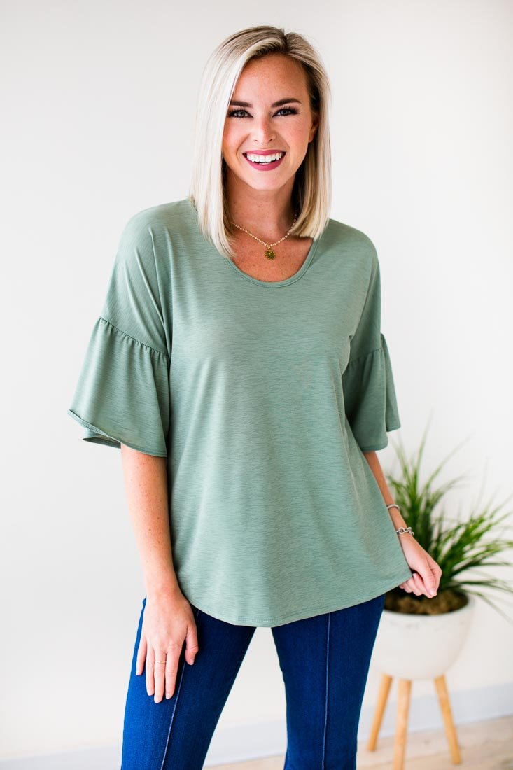 Our History Ruffle Sleeve Top in Sage