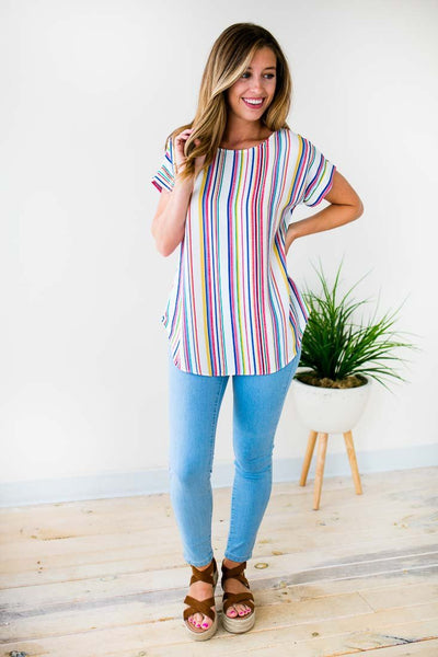 Tops Good Vibes Vertical Rainbow Stripe Top - Lotus Boutique