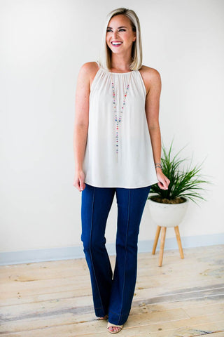 Explore Tonight Tie Front Keyhole Tank in Sea Foam