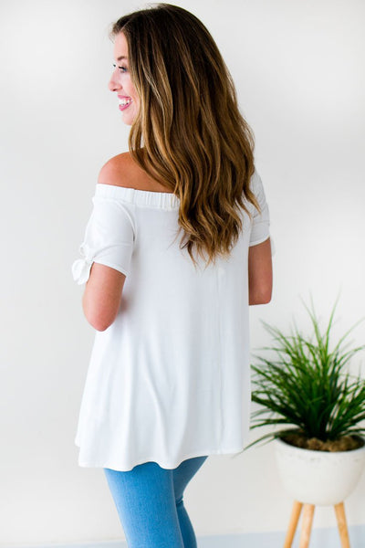 Tops A Mile Away Off Shoulder Tunic in Ivory - Lotus Boutique