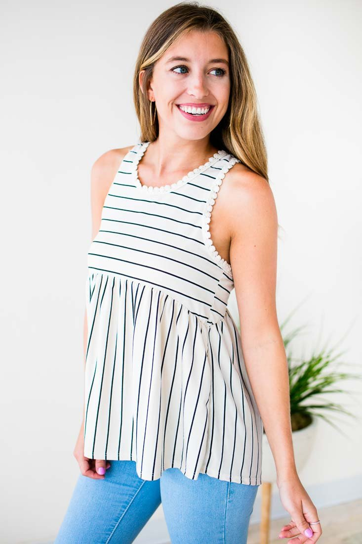 Tops Sugar Stripes Detailed Racer Back Tank - Lotus Boutique