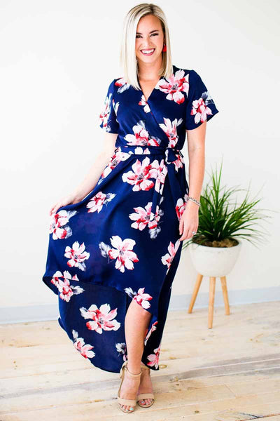 Dresses New York Bloom High Low Navy Dress - Lotus Boutique