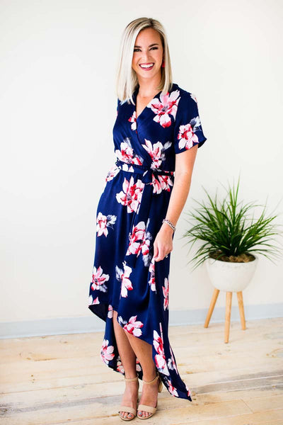 Silky Floral High Low Dress