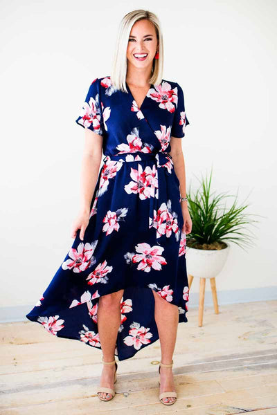 Floral High Low Navy Dress