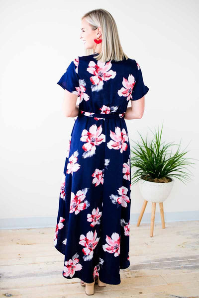 Silky Navy Floral High Low Dress
