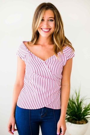 Red Stripe Wrap Top