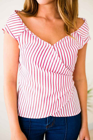 Stripe Wide Neck Wrap Top