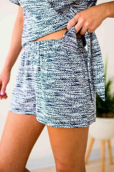 Bottoms Ride or Die Navy Static Print Shorts - Lotus Boutique