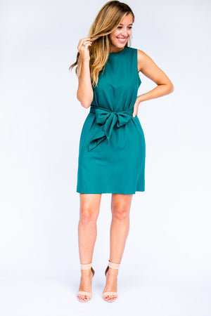 Aqua Bow Tie Waist Dress