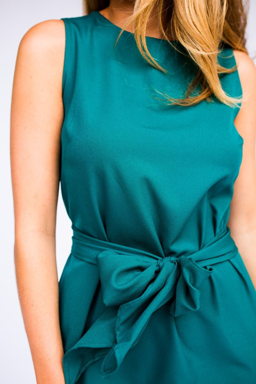 Dresses All the Feels Bow Tie Dress in Aqua - Lotus Boutique