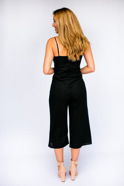 Playsuits What's The Story Linen Jumpsuit in Black - Lotus Boutique