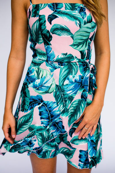 Dresses Palm Print Remix Wrap Ruffle Bottom Dress - Lotus Boutique