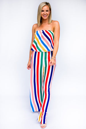 Stripe Rainbow Strapless Jumpsuit