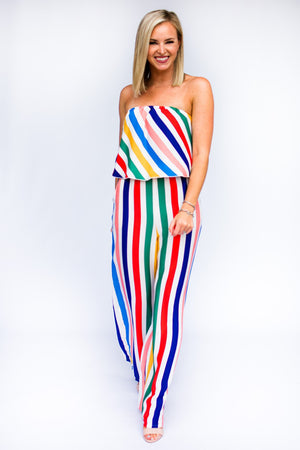 Strapless Rainbow Jumpsuit