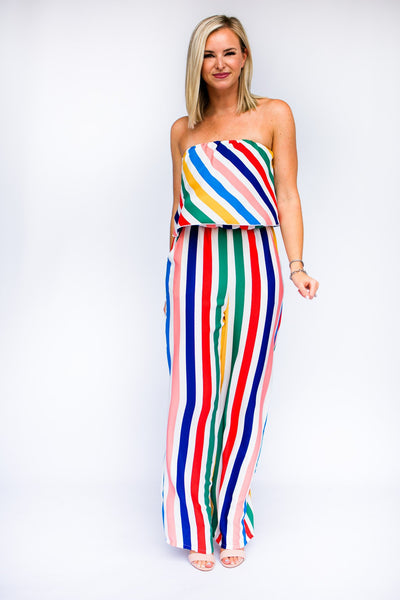 Jumpsuits Haute Hues Yellow Rainbow Stripe Jumpsuit - Lotus Boutique
