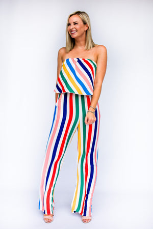 Yellow Rainbow Stripe Strapless Jumpsuit