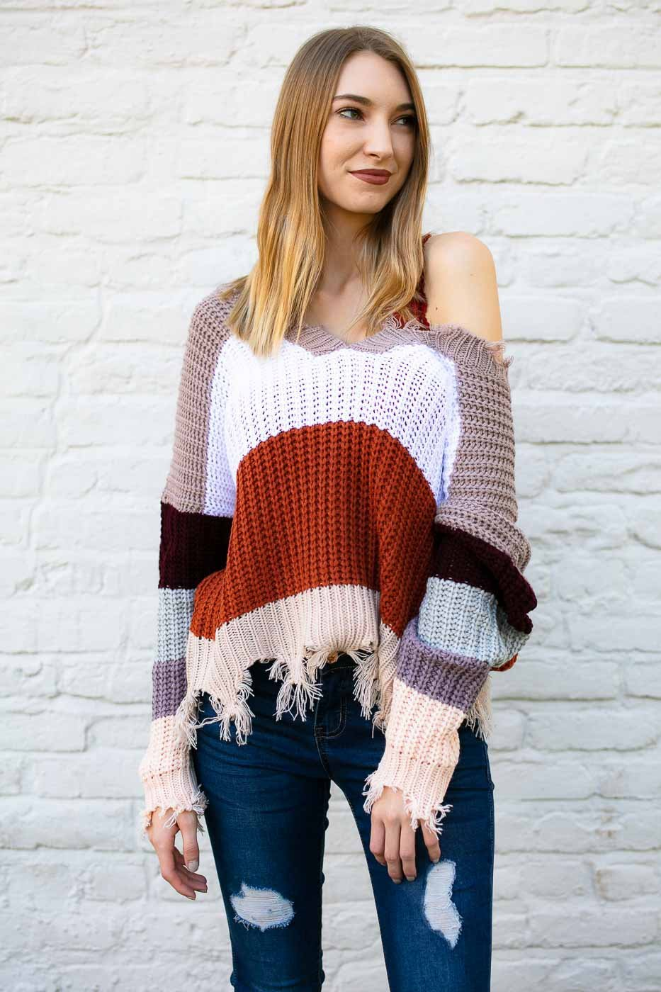 7c495c9d88b9 Tops Current Mood Stripe Frayed Sweater - Lotus Boutique