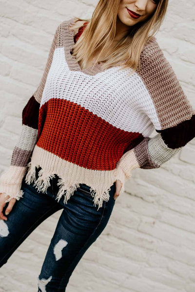 Tops Current Mood Stripe Frayed Sweater - Lotus Boutique