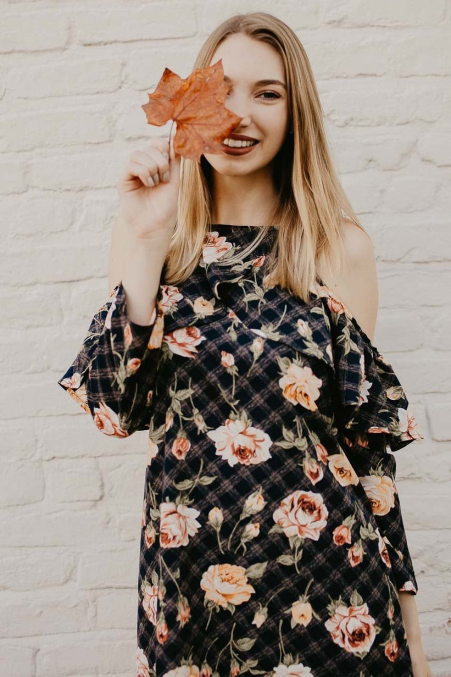 Dresses Picking Roses Cold Shoulder Ruffle Dress - Lotus Boutique