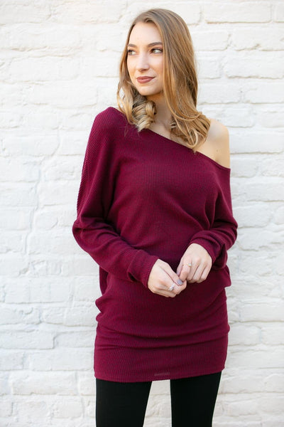 Off Kilter One Shoulder Tunic in Ruby